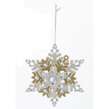 "5.5"" Metallic Gold and White Snowflake with Glitter and Gems Christmas Ornament - image 1 de 1"