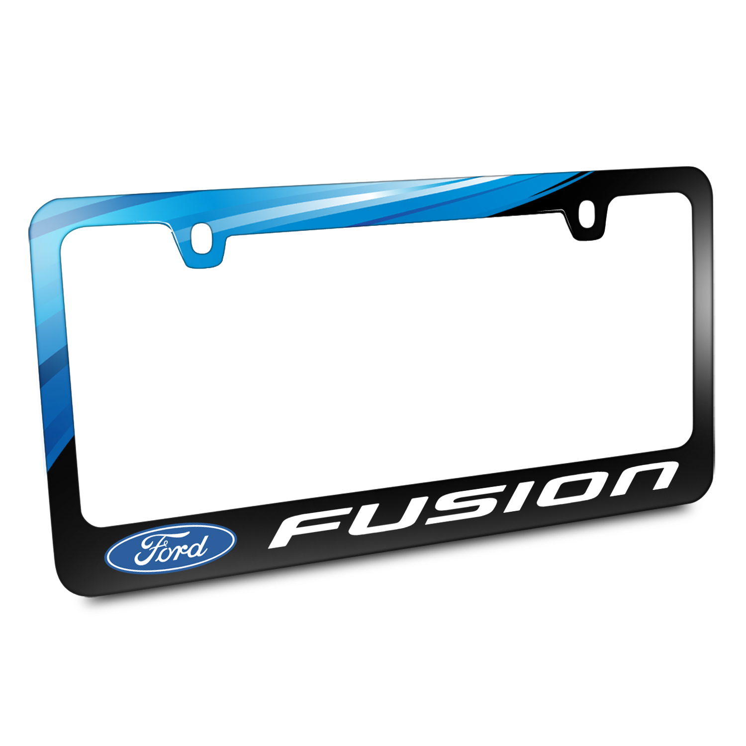 Ford Logo Fusion Black Metal License Plate Frame