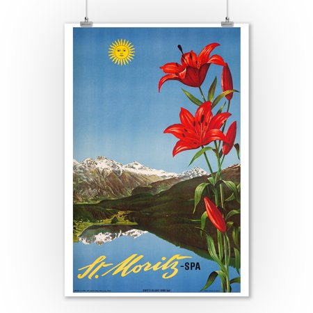 St Moritz - Spa Vintage Poster (artist: Steiner) Switzerland c. 1942 (9x12 Art Print, Wall Decor Travel (Best Spa In St Moritz)