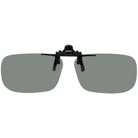 Polarized Grey Clip-on Flip-up Plastic Sunglasses - Large Rectangle - 62mm X 39mm - Shade Control D-Clips (Bulk Plastic Sunglasses)