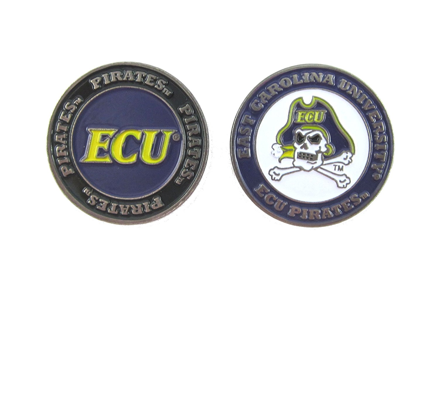 East Carolina Pirates Double-Sided ECU Golf Ball Marker, East Carolina University Golf Ball Marker By Waggle Pro Shop,USA