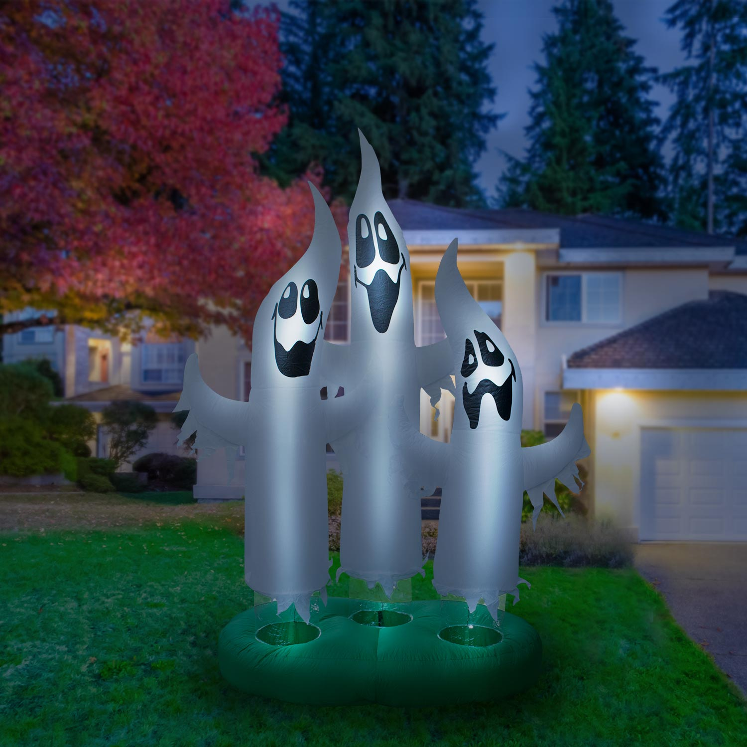 Holidayana Giant 10 Ft Airblown Inflatable Ghost Family – Inflatable Halloween Decoration with Super Bright Internal Lights, Built-in Fan & Anchor Ropes
