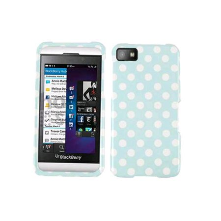 - Generic Snap On Faceplate Protector Case for Blackberry Z10 - White Dots on Light Blue