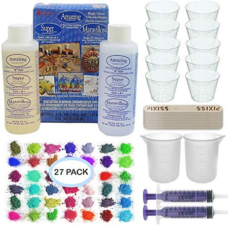 Amazing Clear Cast Bundle - Amazing Clear Cast Resin 8-Ounce, Pixiss 27 Colors Resin Tinting Mica Powders (Assorted Colors), Pixiss Mixing Sticks, 2X 100ml Silicone Measuring Cups, 2X 10ml Syringes for $<!---->