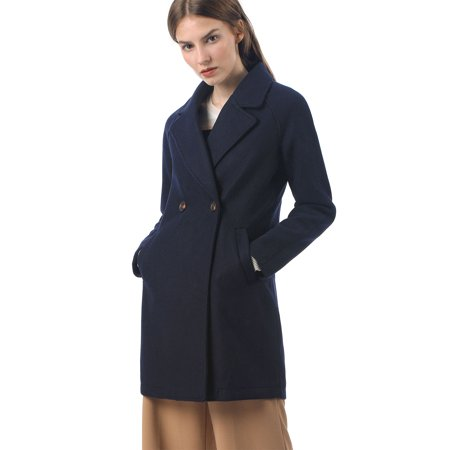 Women's Double Breasted Lapel Raglan Trench Coat Blue XS (US 2) Double Breasted Silk Coat