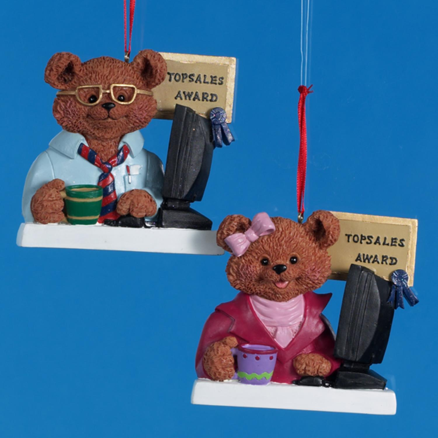 "Club Pack of 12 ""Top Sales"" Bear Christmas Ornaments for Personalization 3.25"""
