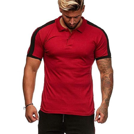 Mens Sports Short Sleeve Buttons T Shirts Tops Muscle Summer Casual Slim T Shirt