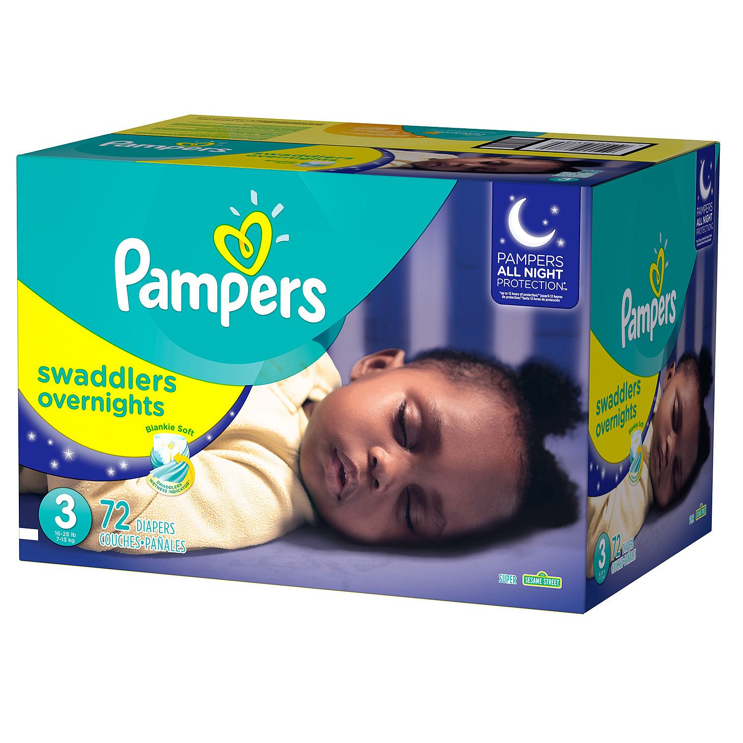 Pampers Swaddlers Overnights Diapers,72ct Size,3