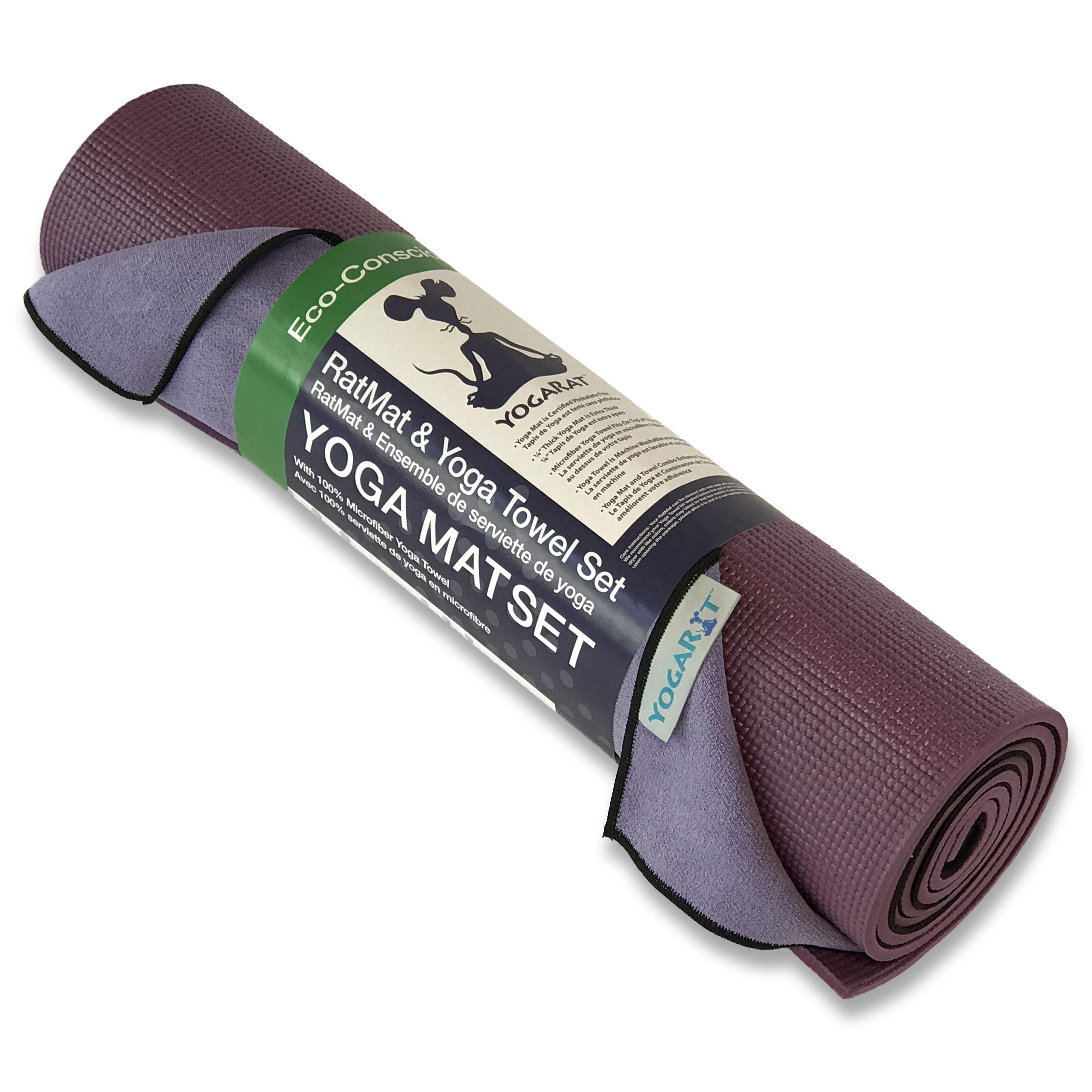 Yogarat Ratmat Yoga Mat Yoga Towel Set Violet Mat And Purple Black Towel Walmart Com Walmart Com