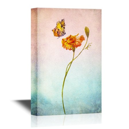 wall26 Leaf and Floral Canvas Wall Art - Abstract Flower with Butterfly on Watercolor Style Background - Gallery Wrap Modern Home Decor | Ready to Hang - 16x24 - Butterfly Canvas