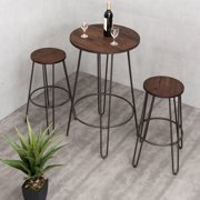 Gymax 3pc Pub Set Bar Wood Round Table Height Counter Chairs Bistro Stool Furniture
