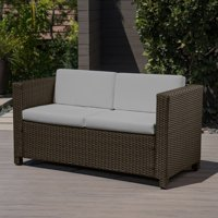 Pattillas Outdoor Wicker Loveseat with Cushions, Brown, Ceramic Grey