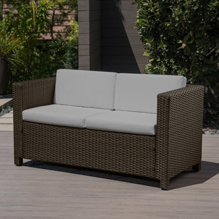 Pattillas Outdoor Wicker Loveseat With Cushions Brown