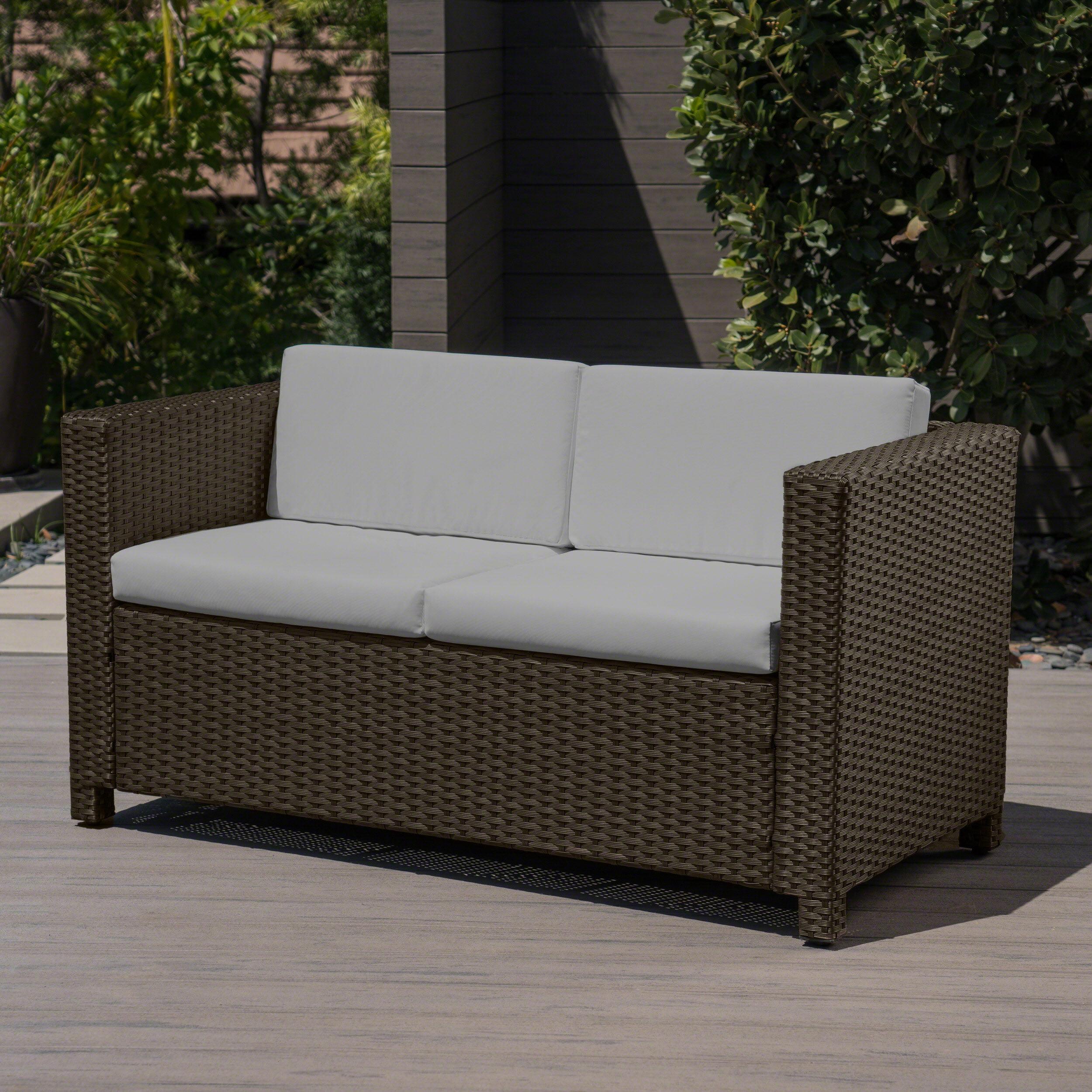 Pattillas Outdoor Wicker Loveseat with Cushions, Brown, Ceramic Grey