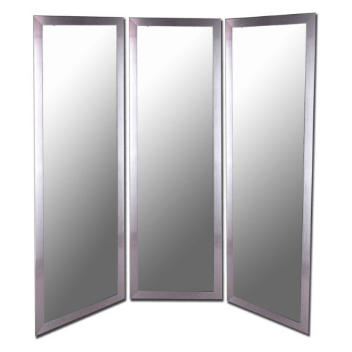 Royal Stainless Silver Full Length Free Standing Tri-Fold Mirror - 66W x 70H in.
