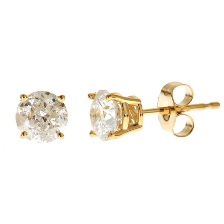 1 Carat Diamond Stud Earrings - 1 Carat T.W. Genuine Round White Diamond 14kt Yellow Gold Stud Earrings, IGL Certified