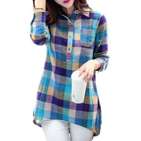 Esho Women Casual Long Sleeve Plaid Shirt Iregular Button Down Pullover Top