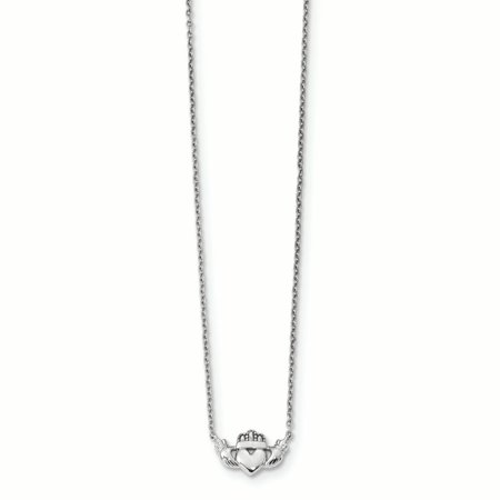 14K White Gold 1.1 MM Polished Claddagh Necklace, 17