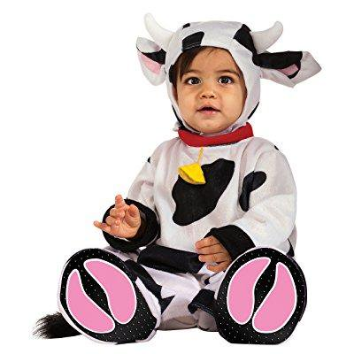 rubie's costume cuddly jungle mr. moo cow romper costume, white/black, 6-12 months