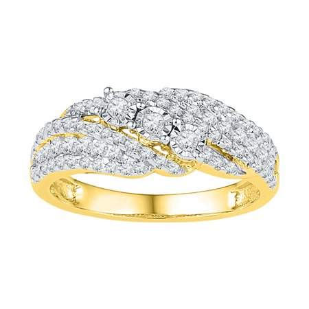Size - 7 - Solid 10k Yellow Gold Round White Diamond Engagement Ring OR Fashion Band Prong Set 3 Stone Shaped Ring (1/2 cttw)