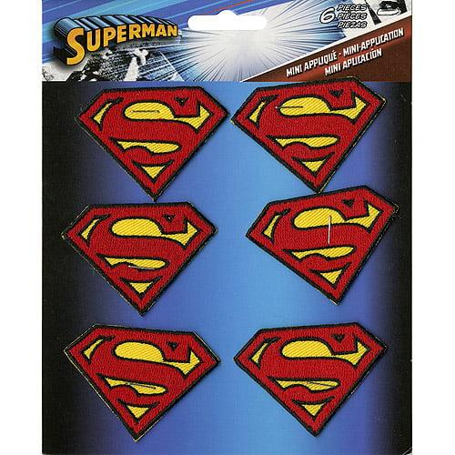 """DC Comics Patch Superman Insignia, 2"""" x 1.5"""", 6-Pack"""