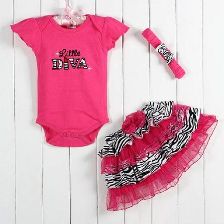 3 Piece Ruffle Set - Little Diva - 6-9 month - Diva Outfits