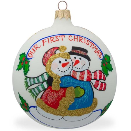 Snowman Couple Glass Ball Our First Christmas Ornament 4 Inches