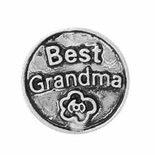 "Round Locket Crystal Necklace Base and Floating Family Charms (""Best Grandma"")"