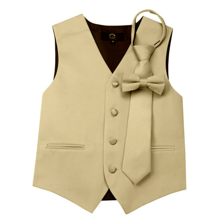 Italian Design, Boy's Tuxedo Vest, Zipper Tie & Bow-Tie Set - (Fall Out Boy Champagne For My Real Friends)