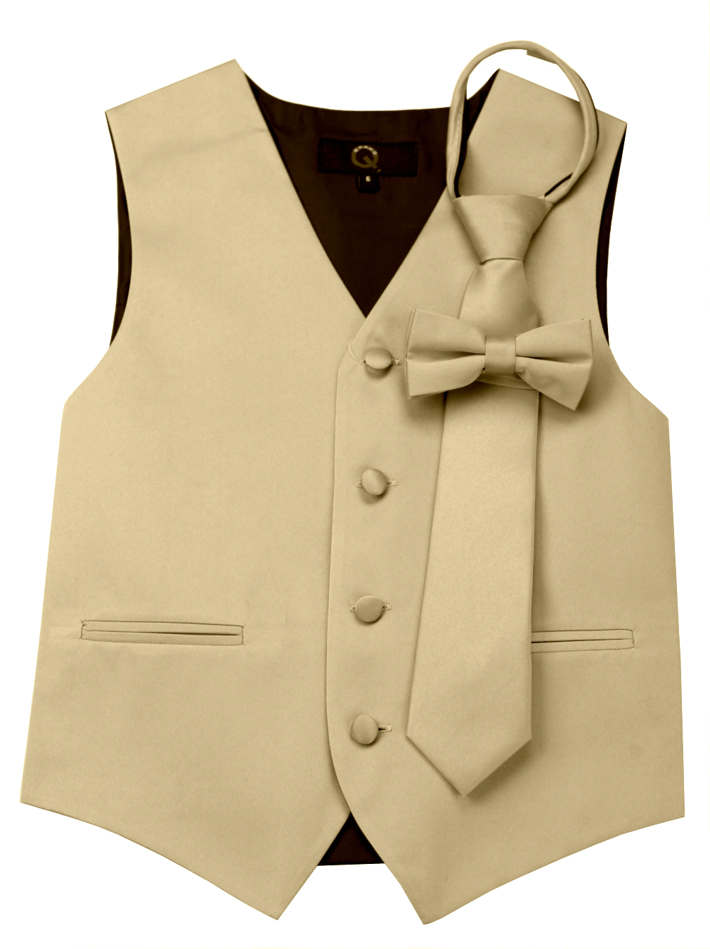 Italian Design, Boy's Tuxedo Vest, Zipper Tie & Bow-Tie Set - Champagne