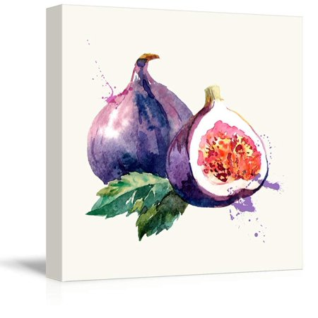 Fig Art - wall26 - Square Canvas Wall Art - Fig Watercolor | Fruits Watercolor Art and Illustrations - Giclee Print Gallery Wrap Modern Home Decor Ready to Hang - 24x24 inches