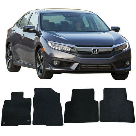 Compatible with 16-19 Honda Civic 4DR Sedan Floor Mats Carpet Front & Rear Black 4PC -Nylon