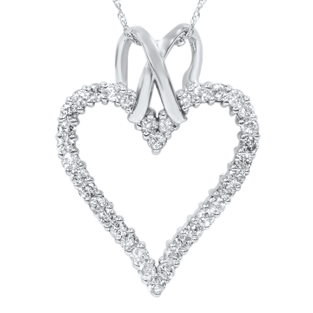 1 1 10ct Diamond Heart Shaped Pendant Necklace 14K White Gold by Pompeii3