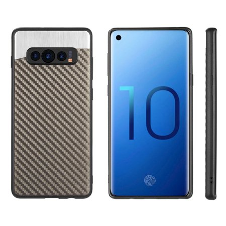Samsung Galaxy S10 Case, by Insten Carbon Metallic Fusion TPU Rubber Candy Skin Case Cover For Samsung Galaxy S10, Gray - image 1 de 6