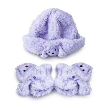 Fuzzy Wear Girls Purple Poodle Hat & Mitten Set, 12-18 Months - Fuzzy Panda Hat