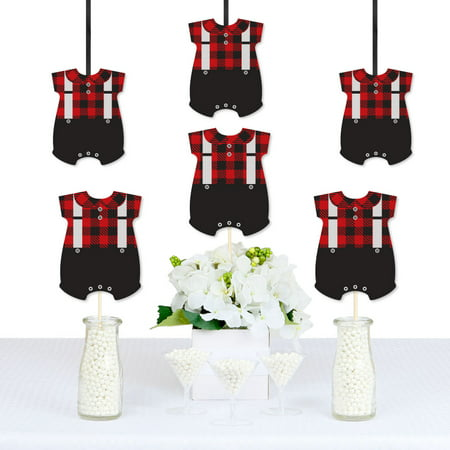 Lumberjack - Baby Bodysuit Decorations DIY Buffalo Plaid Baby Shower or 1st Birthday Party Essentials - Set of 20 - Halloween 1st Birthday Party Ideas