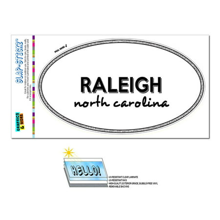 Raleigh, NC - North Carolina - Black and White - City State - Oval Laminated Sticker