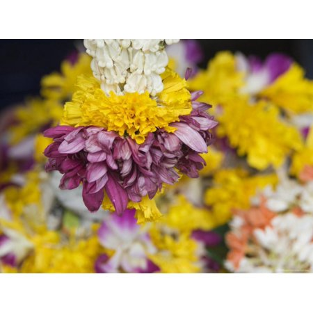 Flower Garlands on a Stall for Temple Offerings, Little India, Singapore, South East Asia Print Wall Art By Amanda Hall