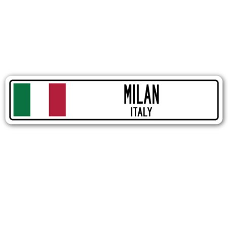 MILAN, ITALY Street Sign Italian flag city country road wall gift