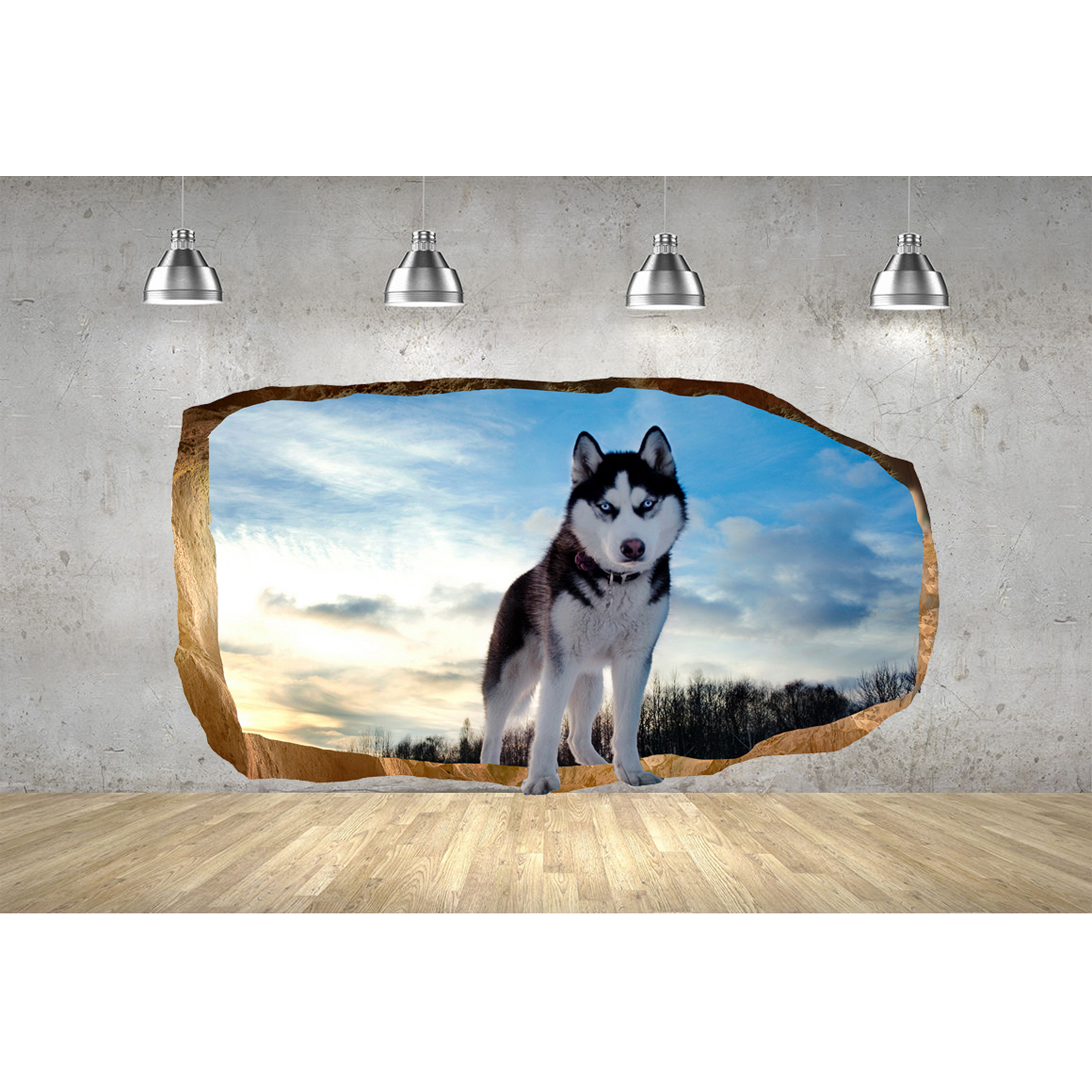 Startonight 3D Mural Wall Art Photo Decor Beautiful Dog Amazing Dual View Surprise Wall Mural Wallpaper for Bedroom Animals Wall Paper Art Gift Large 47.24 '' By 86.61 ''