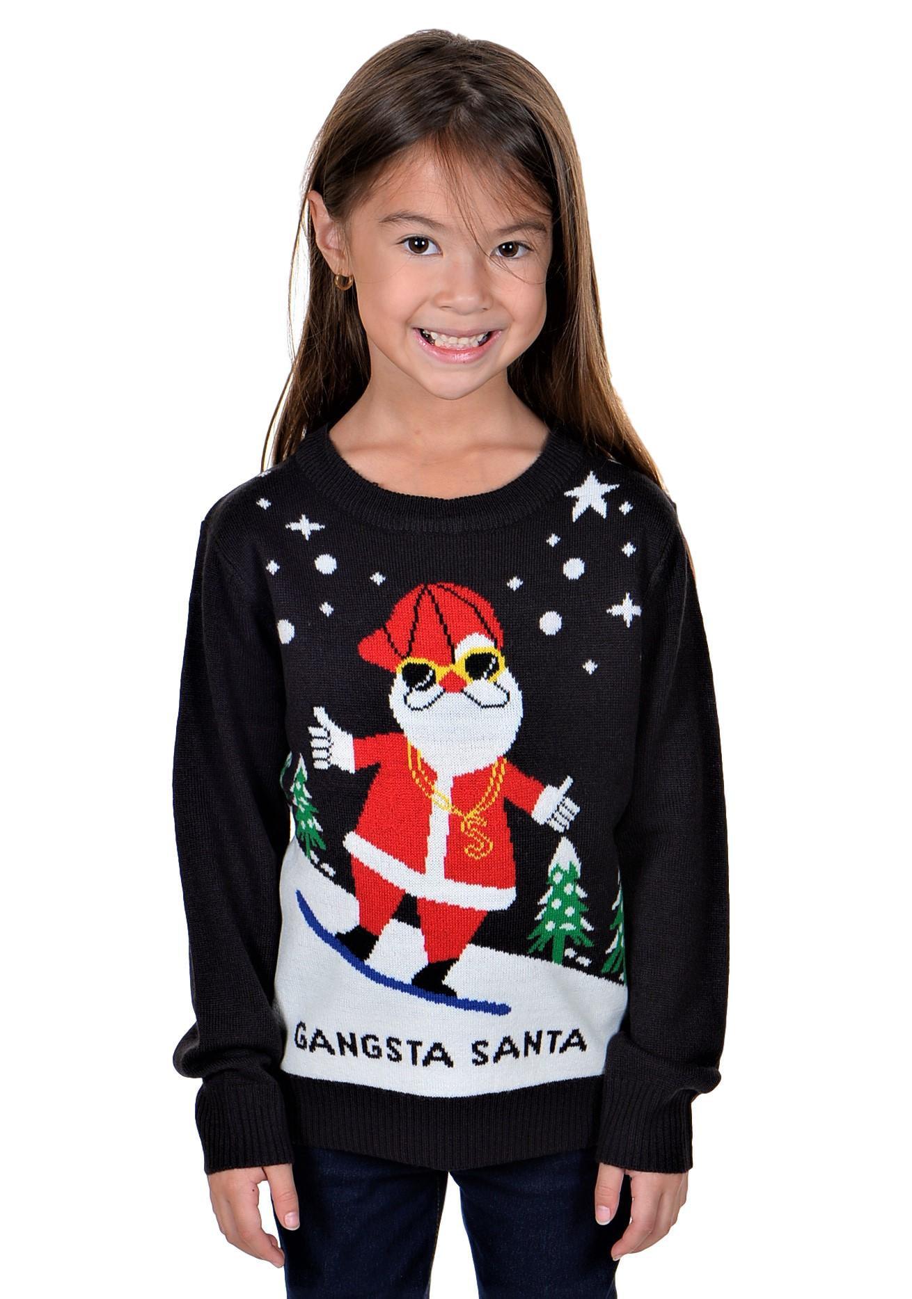 KESIS Children Gangsta Santa Ugly Christmas Sweater