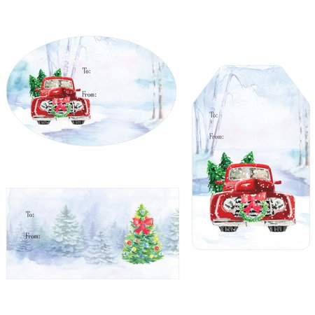 Christmas Gift Tag Stickers - 76 count - Vintage Red Truck and Snow Theme Christmas Gift Wrap Tags - Assortment of - Vintage Gift Tags