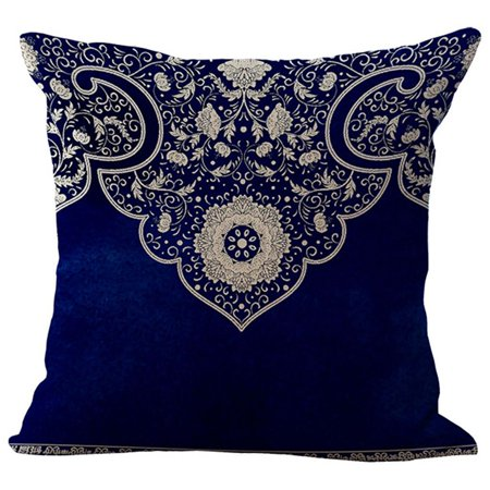 Blue Floral Pillowcases (Joyfeel Clearance Sofa Pillow Cushion Cover for Home Decro Floral Elk Blue and White Cotton Linen Throw Pillows Case Cushion Cover 18x18 inch )