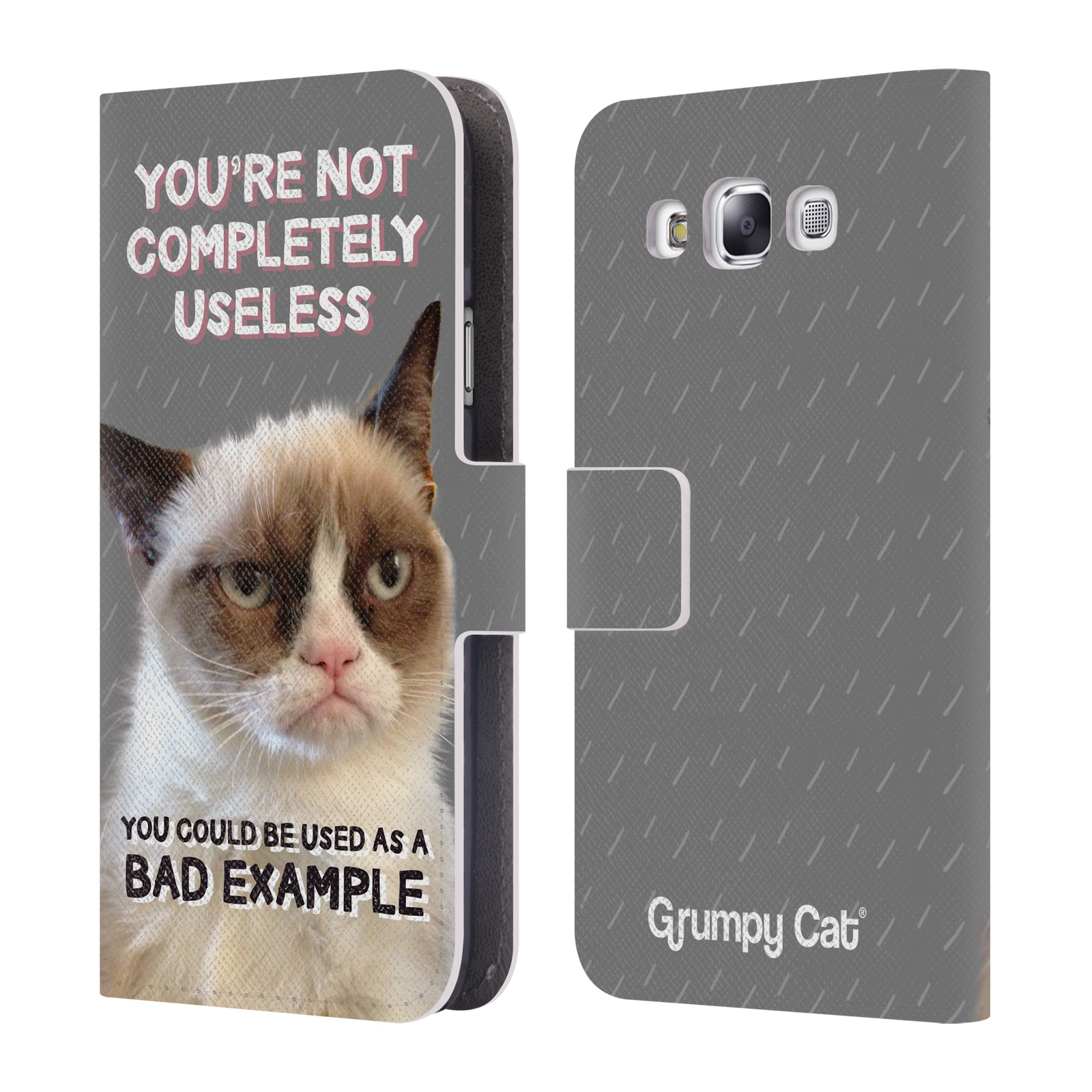 OFFICIAL GRUMPY CAT QUOTES LEATHER BOOK WALLET CASE COVER FOR SAMSUNG PHONES 3