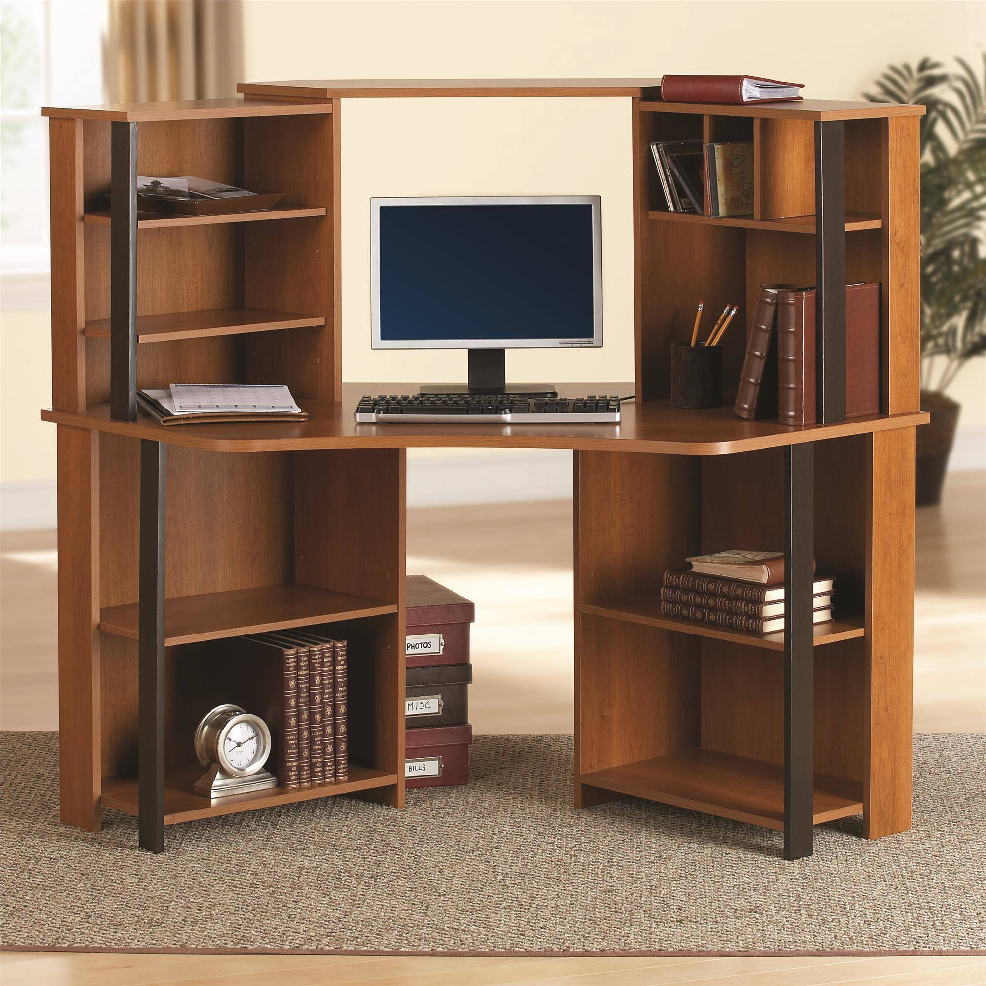 Mainstays Corner Workstation Cherry With Black Accents