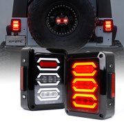 Xprite Clear Lens G3 Diamond Series Red LED Tail Light Assembly w/ Turn Signal & Back Up For Jeep Wrangler JK JKU 2007 - 2018