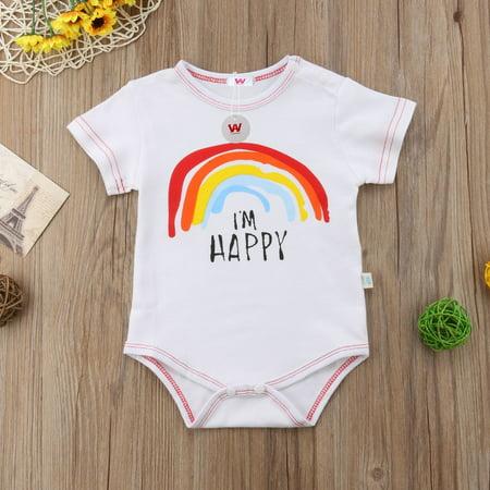2ba0edd42f29 Summer Cute Cotton Rainbow Romper Newborn Infant Kids Baby Boy Girl ...