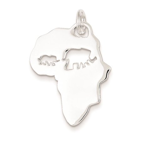 Sterling Silver Africa Continent with Elephant Cutout Charm Pendant 30mmx22mm