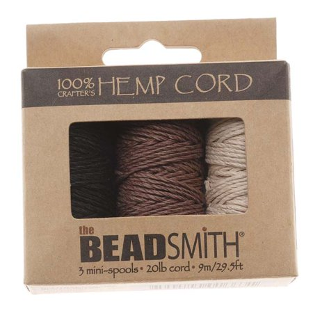 Natural Hemp Twine Bead Cord 1mm Three Color Assorted Variety Pack - 29.5 Feet Each