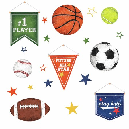 20 Play Sports Ball Wall Decals Soccer tennis Baseball Kids Room Stickers (Soccer Window Decal)